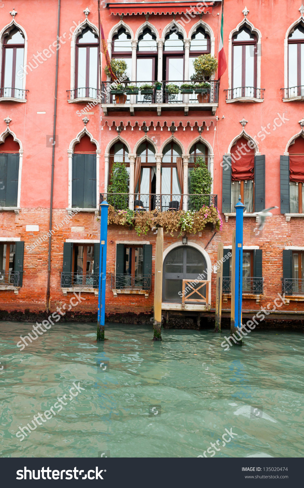 Old Building Made Of Bricks Near Water In Grand Canal Venice Red Pattern