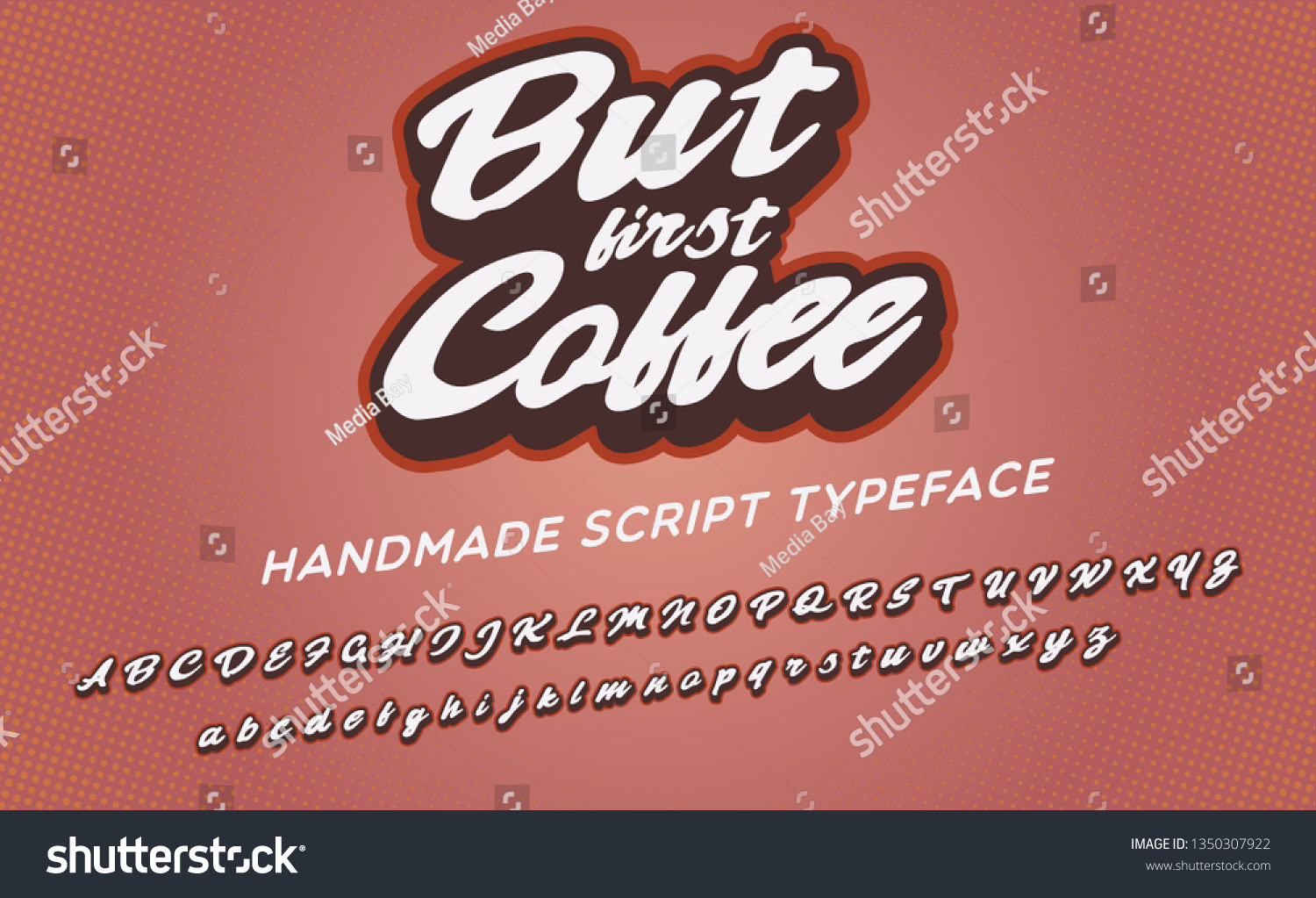 First Coffee 3 D Vintage Script Font Stock Vector (Royalty