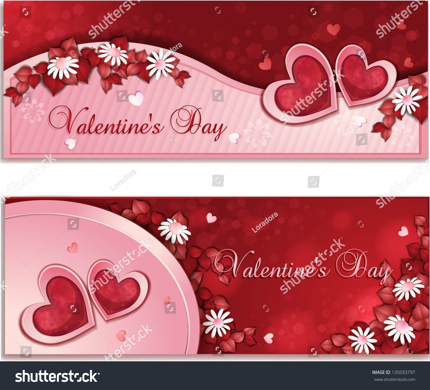 Beautiful Valentines Day Banners Flowers Stock Illustration