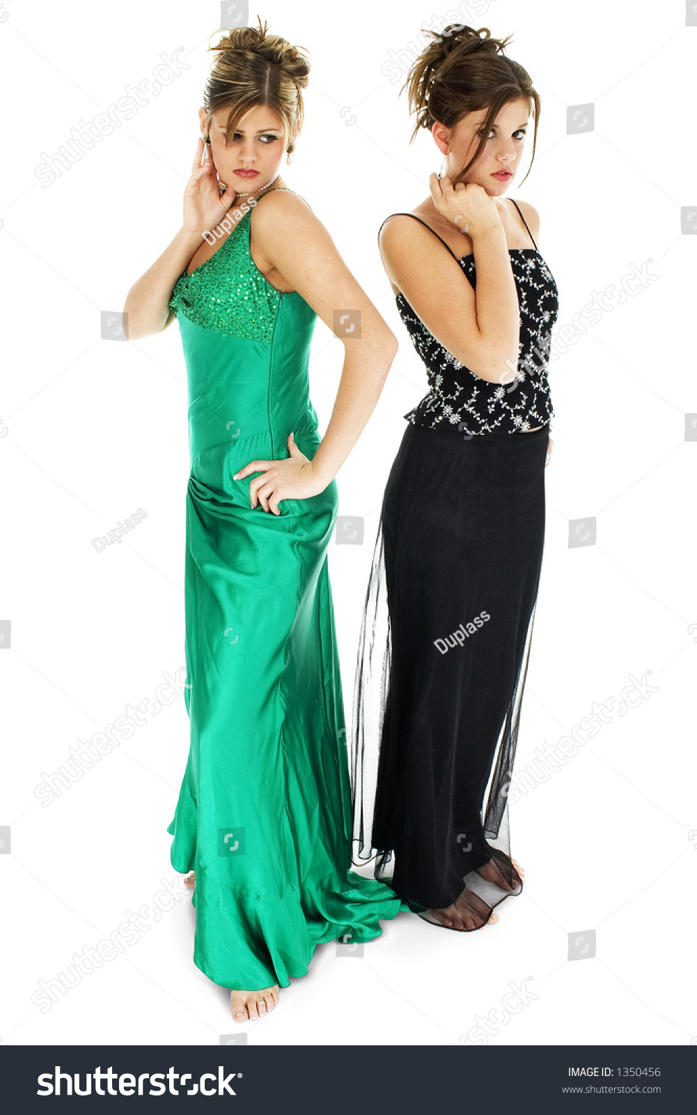 Two Teen Girls Formal Dresses Barefoot Stock Photo (Download Now ...