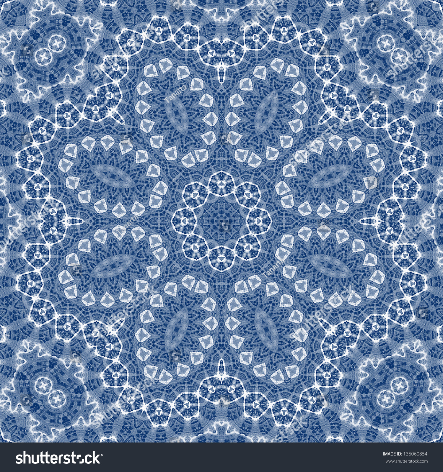 Blue Ink Cotton Flower Lace Form Stock Illustration ...