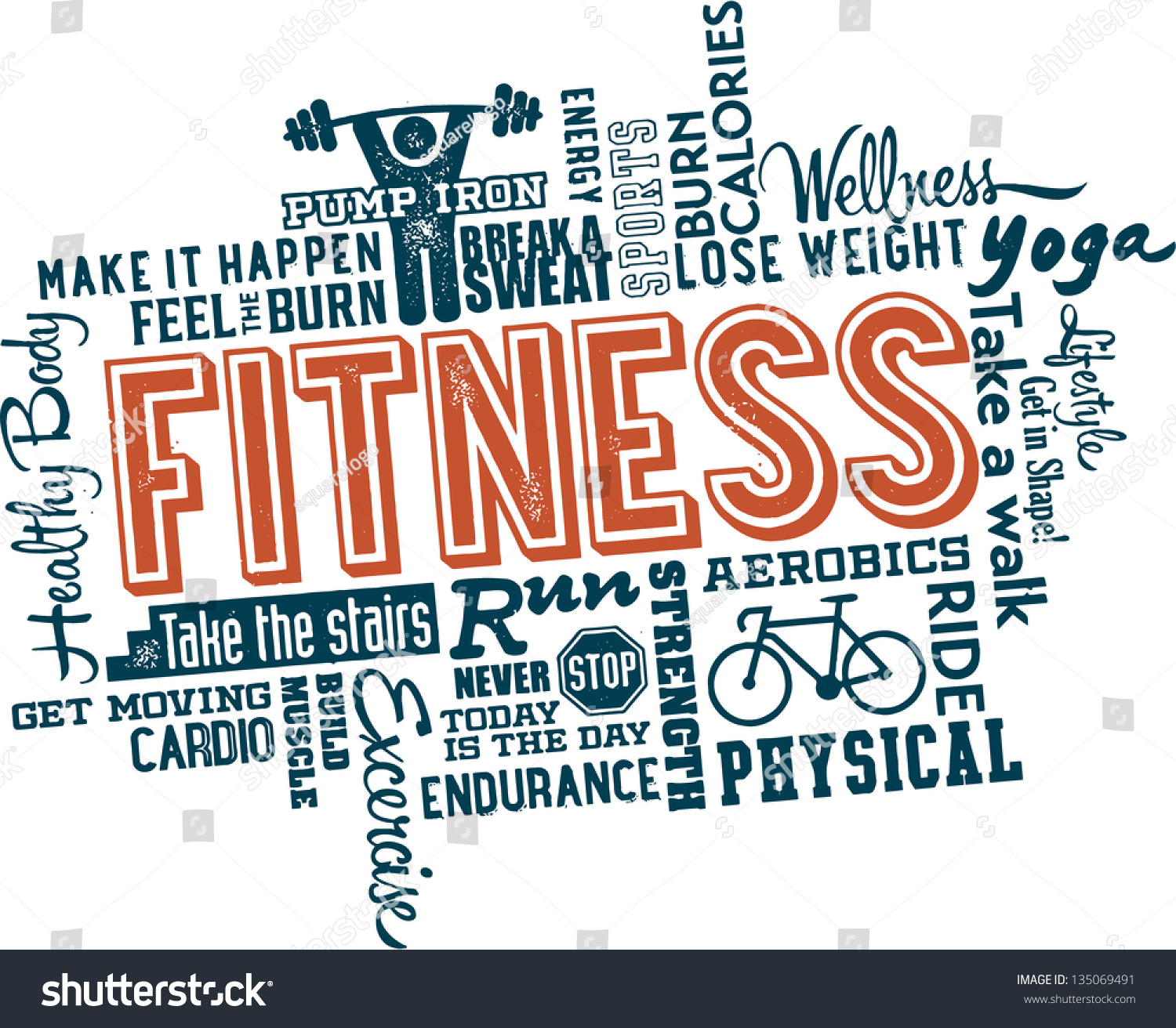 Workout Words: Fitness And Healthy Exercise Word And Icon Cloud Stock