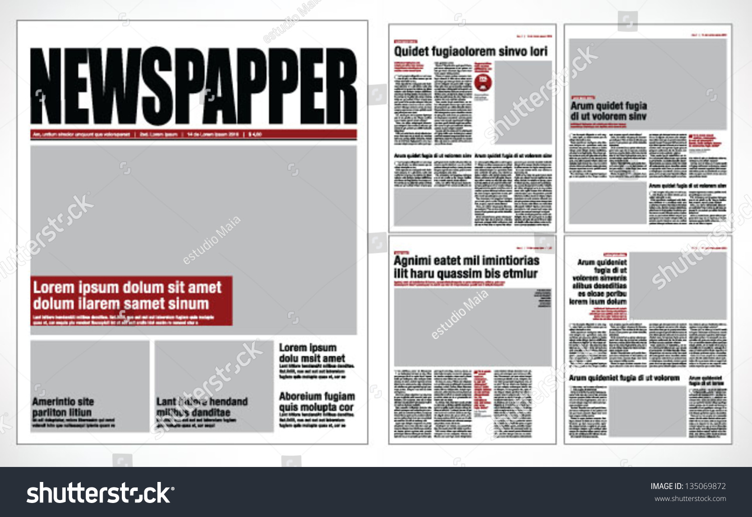 Graphical Design Newspaper Template Vektor 135069872 – Newspaper Layout Template