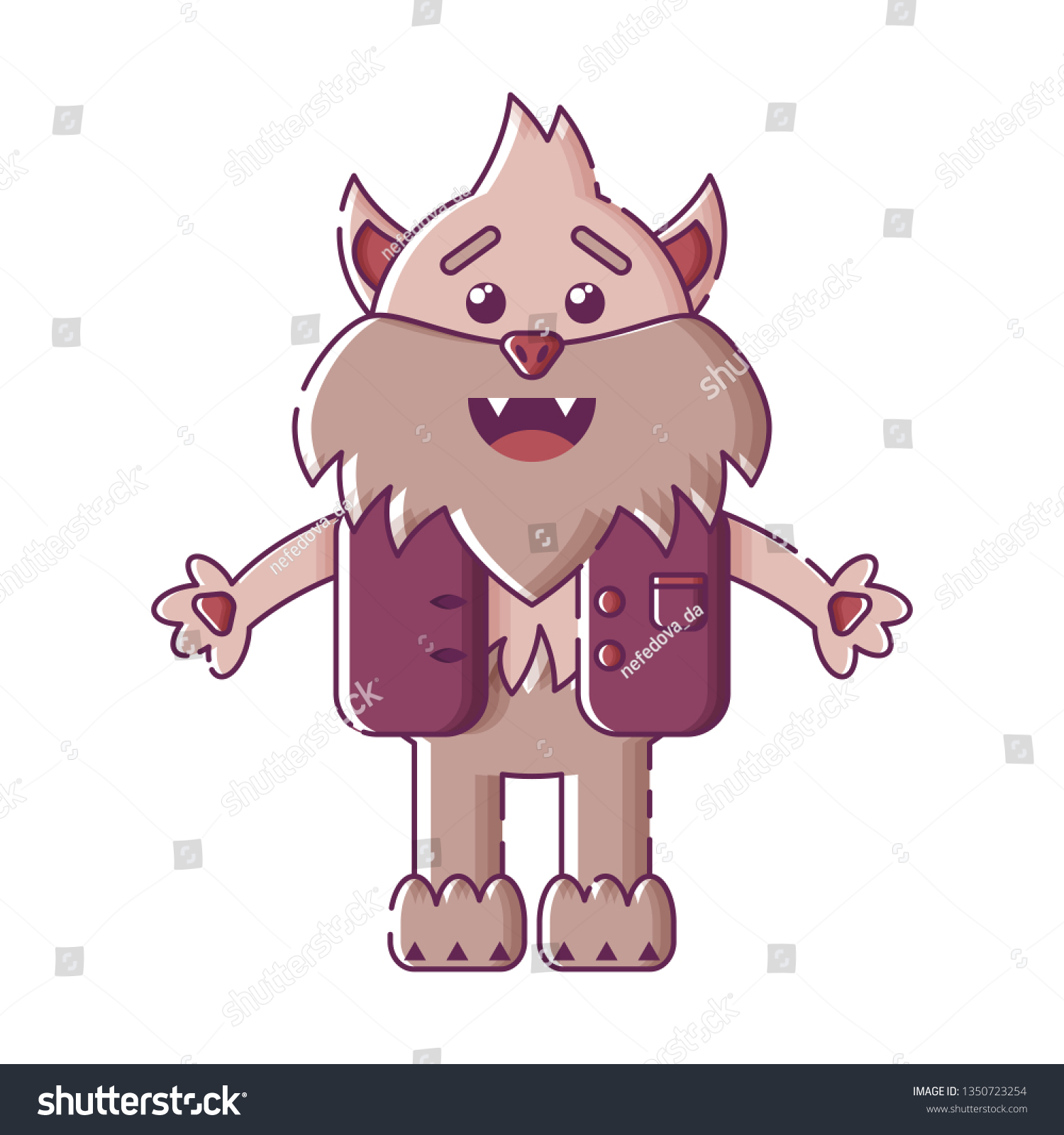 a70fa25dd Cute isolated laughing werewolf in a west. Sticker, patch, badge, pin or.