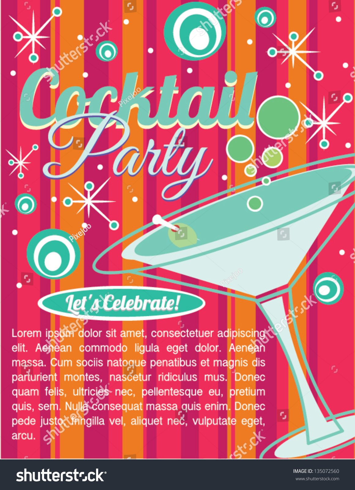 Cocktail Party Invitation Card Vector 135072560 Shutterstock – Cocktail Party Invitation Cards