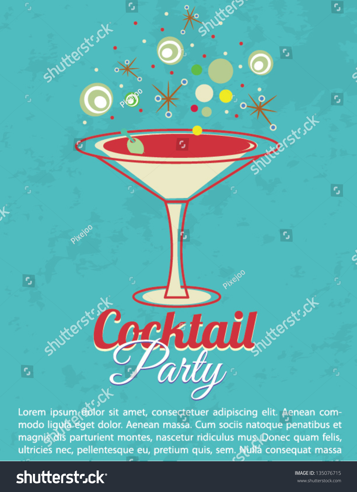 Vintage Cocktail Party Invitation Poster Vector 135076715 – Coctail Party Invitation