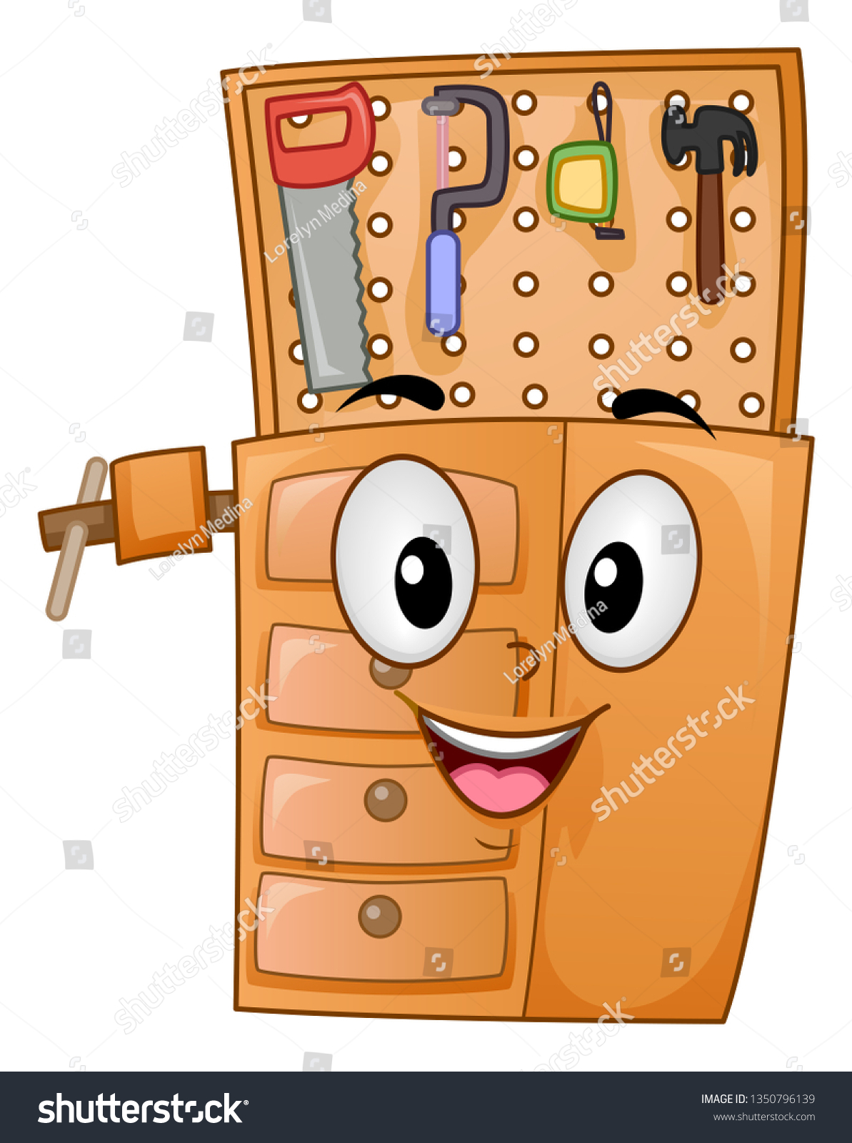 Illustration Woodworking Bench Mascot Showing Tools Stock Vector Royalty Free 1350796139