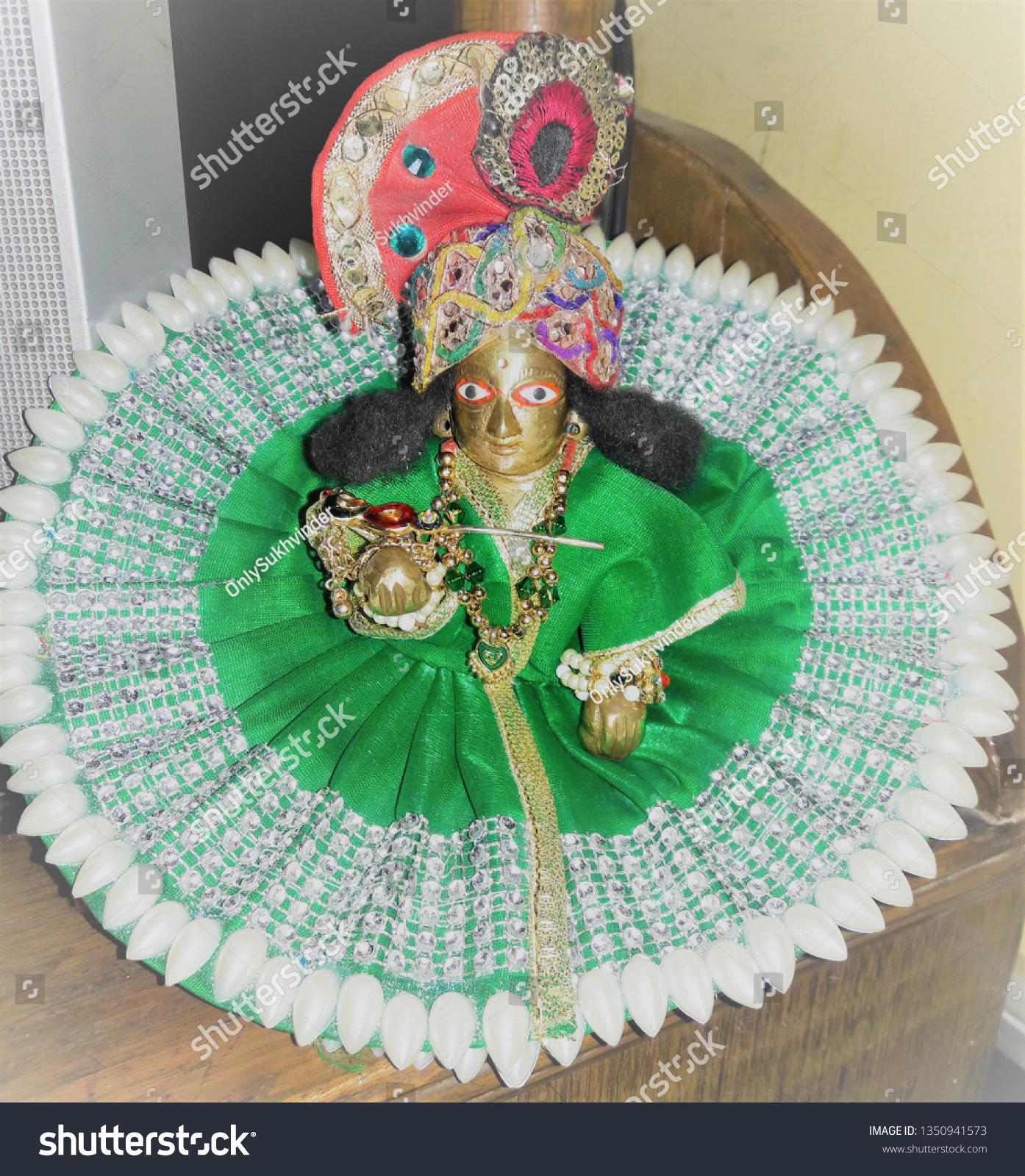 Beautiful Lord Krishna Idol Brass Laddu Stock Photo (Edit