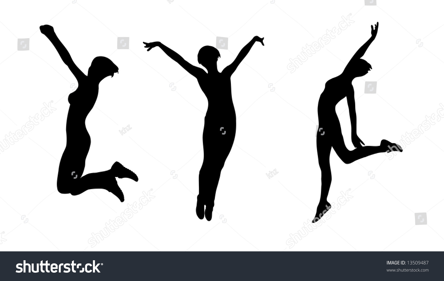 Happy Women Jumping High Vector Silhouettes - 13509487 ...