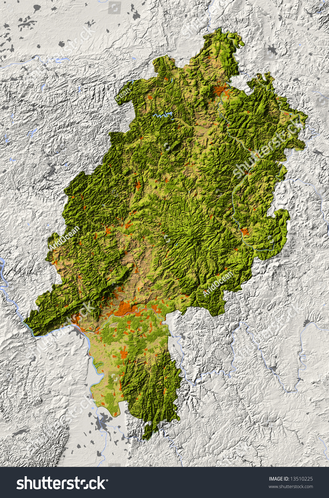 Hessen Germany Shaded Relief Map Federal Stock Illustration - Map of us with federal land shaded