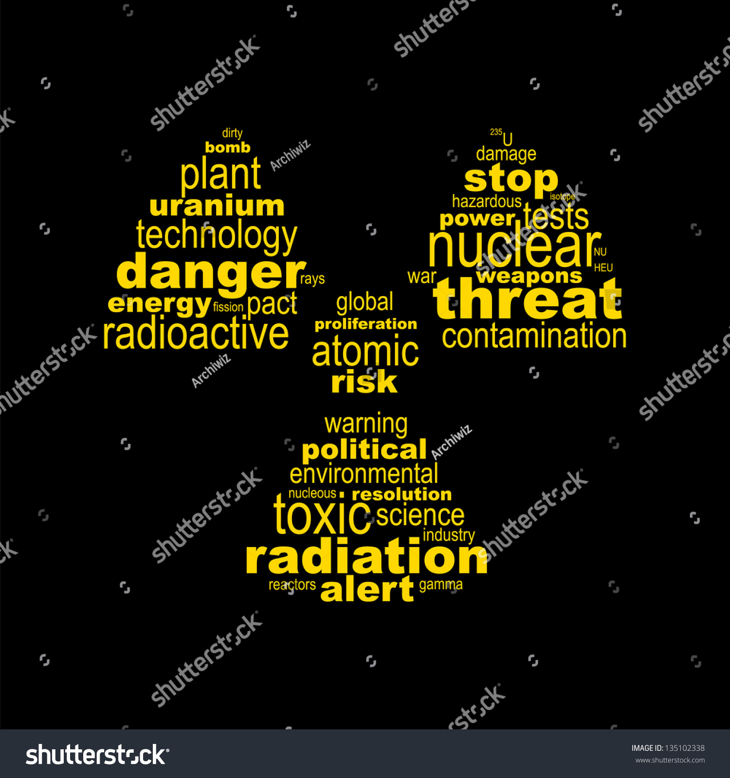 Nuclear symbol concept made words stock vector 135102338 nuclear symbol concept made with words buycottarizona