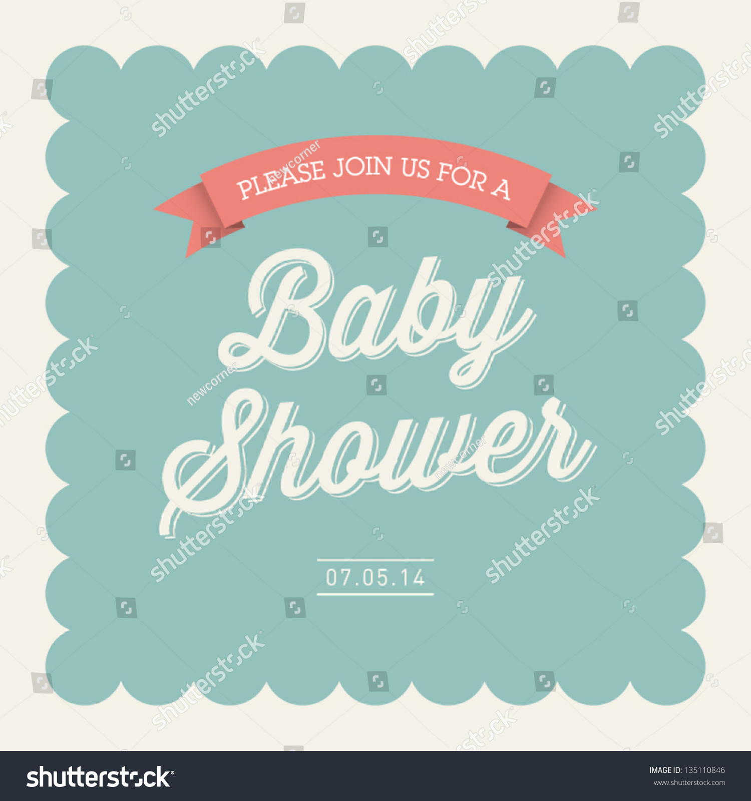 baby shower invitation card editable with type font ribbon frame border vintage