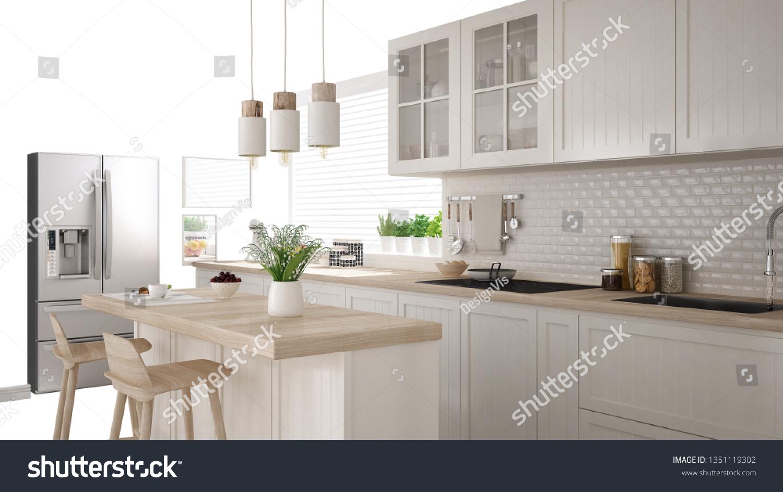 Scandinavian White Kitchen Island Accessories Interior Stock Illustration 1351119302