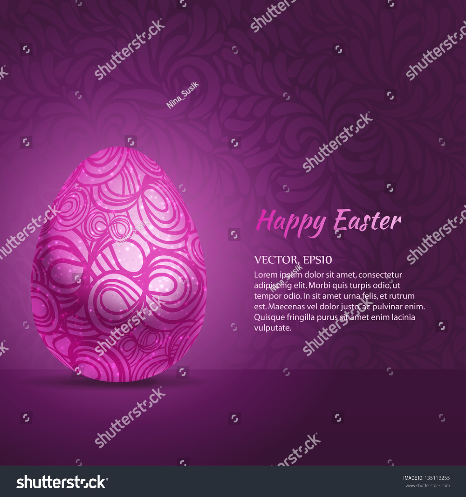Abstract violet easter egg gift card stock vector 135113255 abstract violet easter egg gift card template vector illustration negle Choice Image