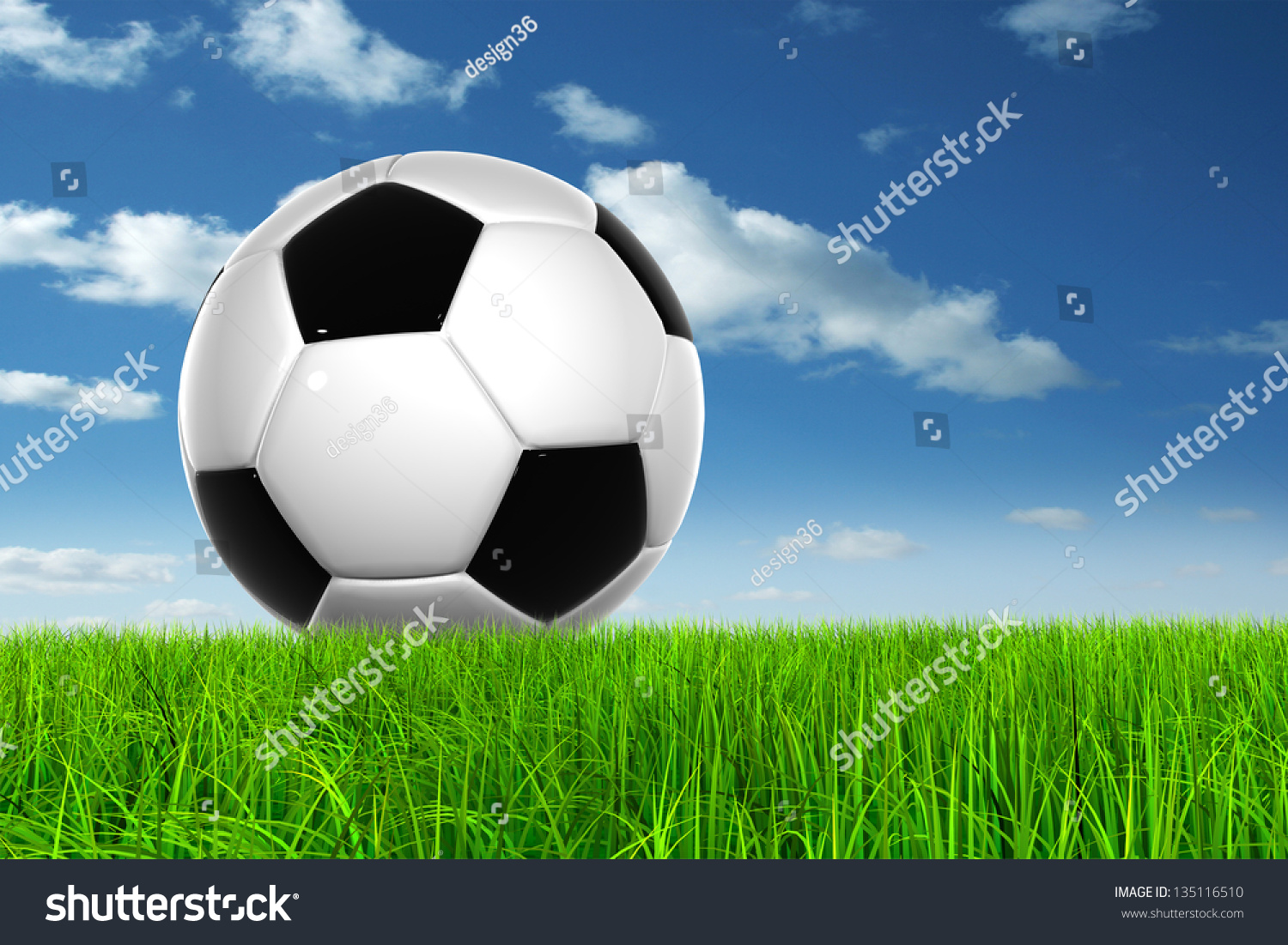 Soccer Football On Green Field With Blue Sky Background: Concept Conceptual 3d Soccer Ball Fresh Stock Illustration