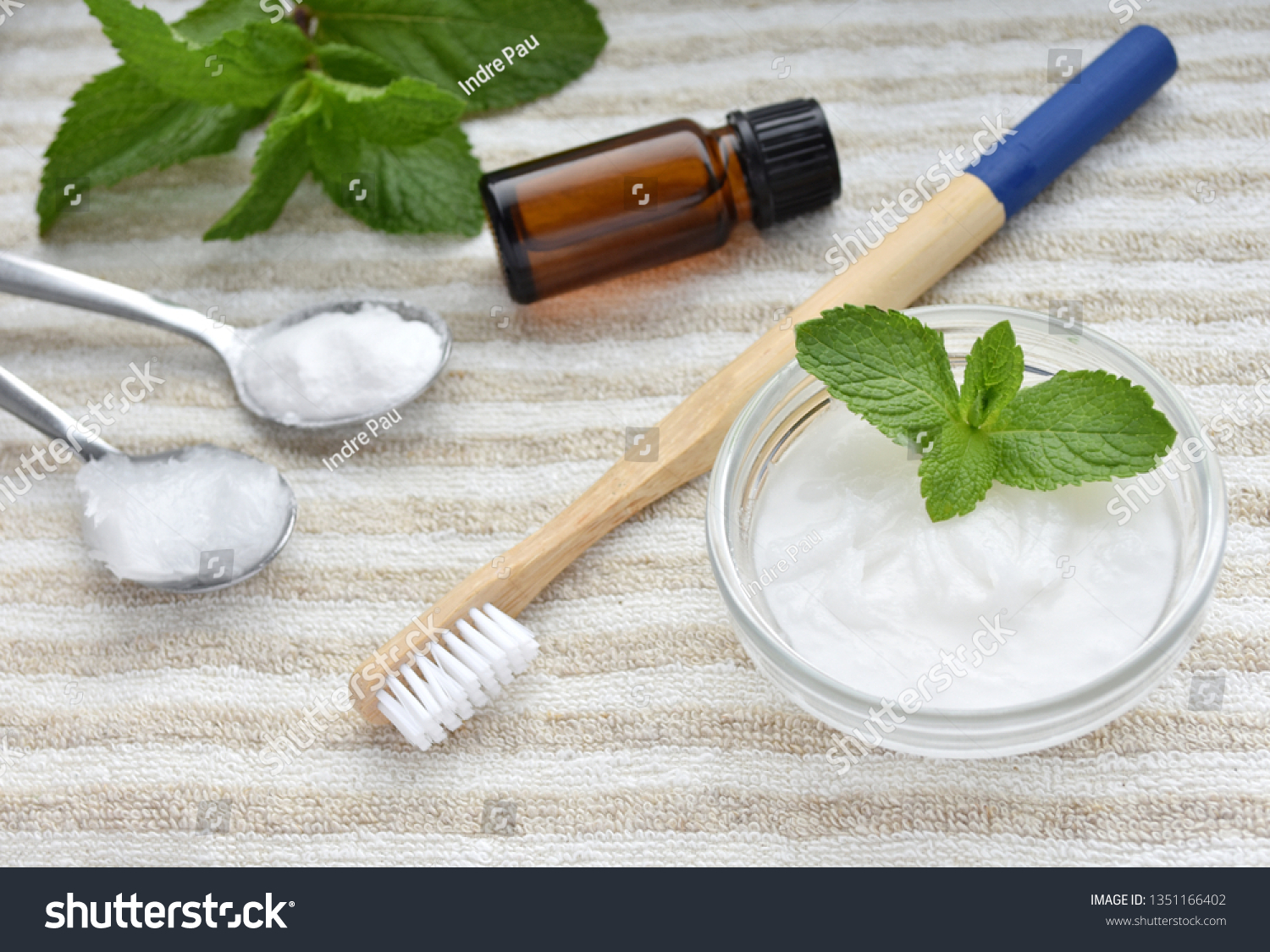 Natural Toothpaste Bamboo Toothbrush Ingredients Baking Stock