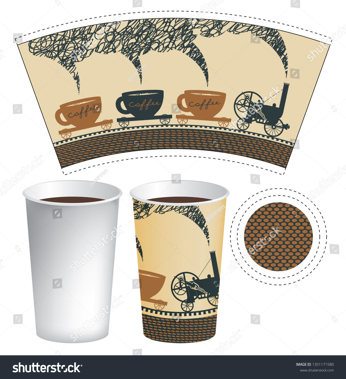 Vector Paper Cup Template Hot Drink Stock Vector Royalty Free 1351171580