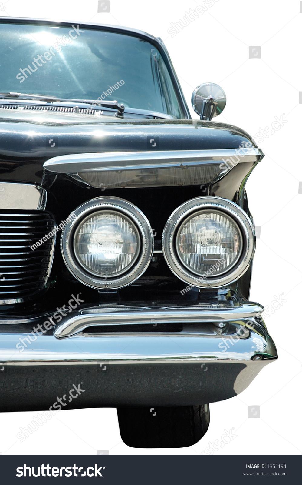 Antique Automobile Headlamps : Old classic black vintage car headlights stock photo