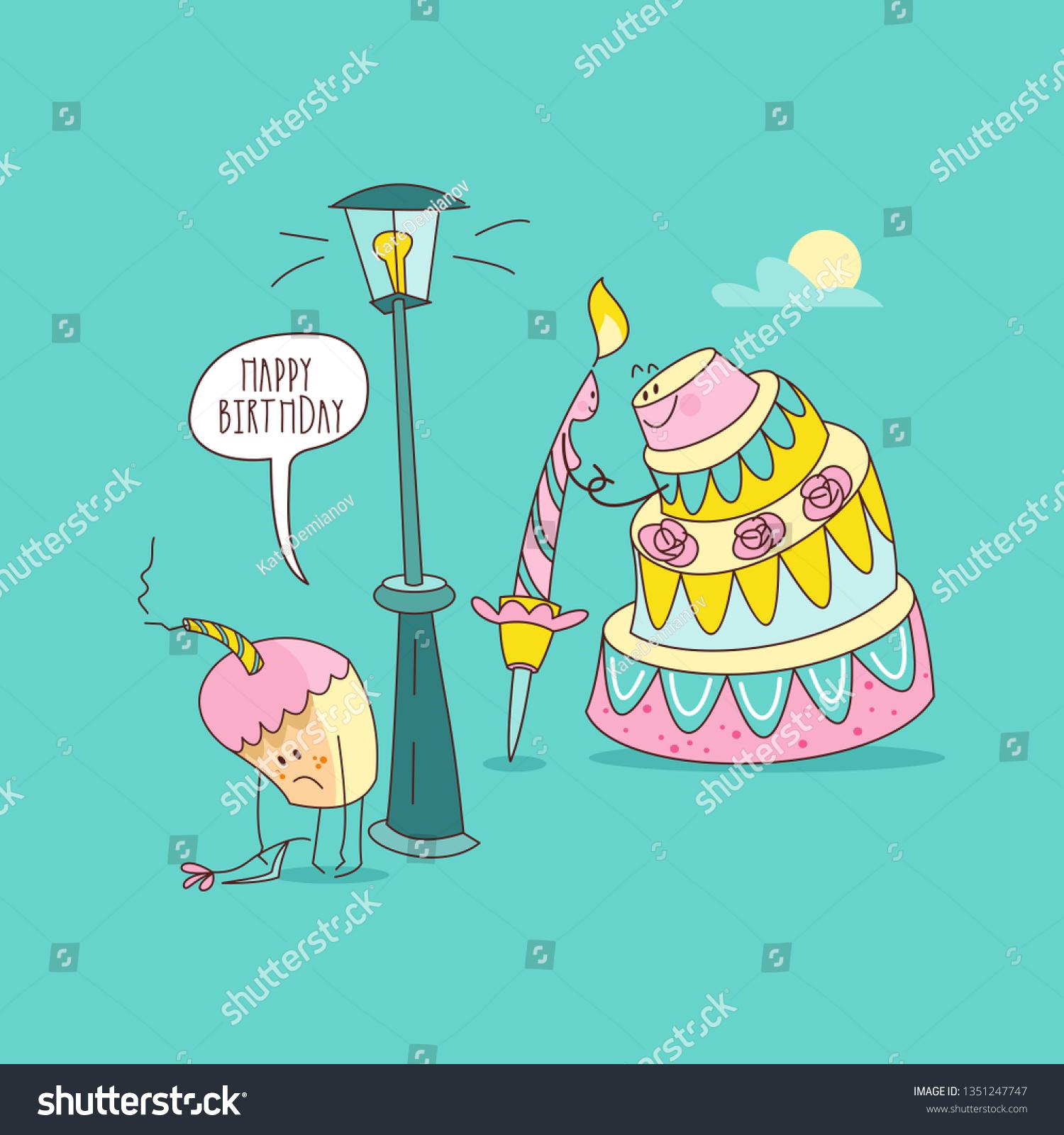 Happy Birthday Nice Funny Greeting Card Stock Vector Royalty Free