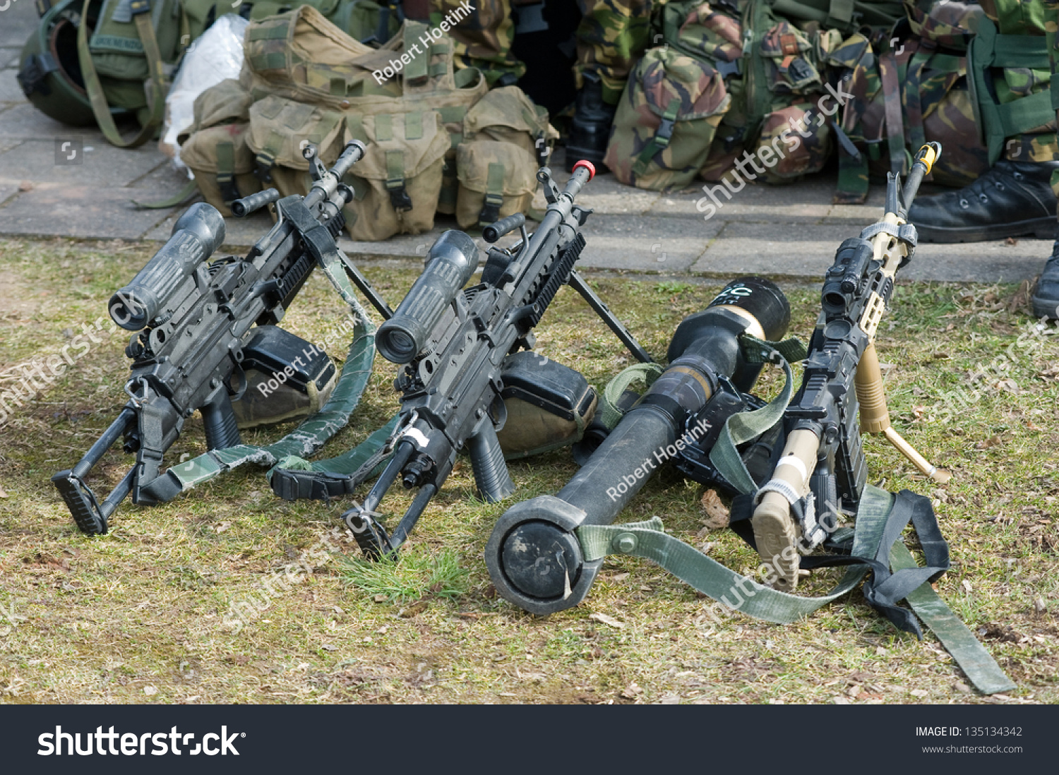 Automatic Weapons Standing On The Ground During A Briefing Of Special