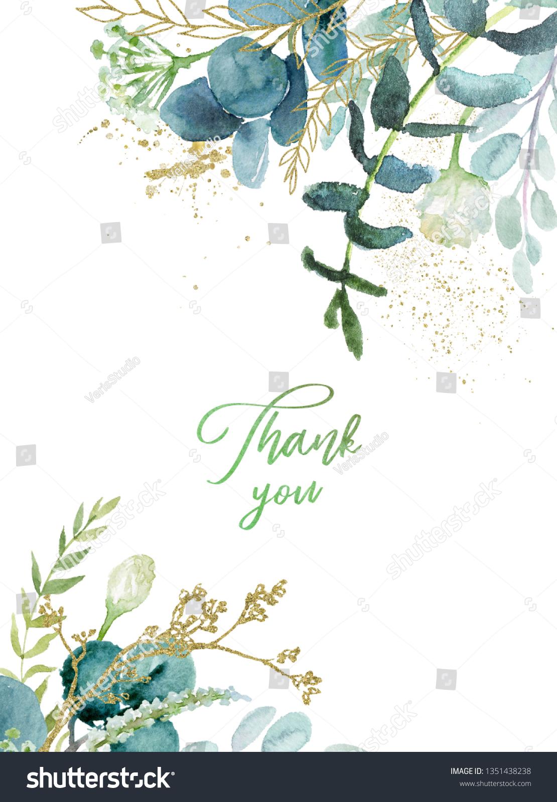 Watercolor Floral Illustration Leaf Frame Border Stock