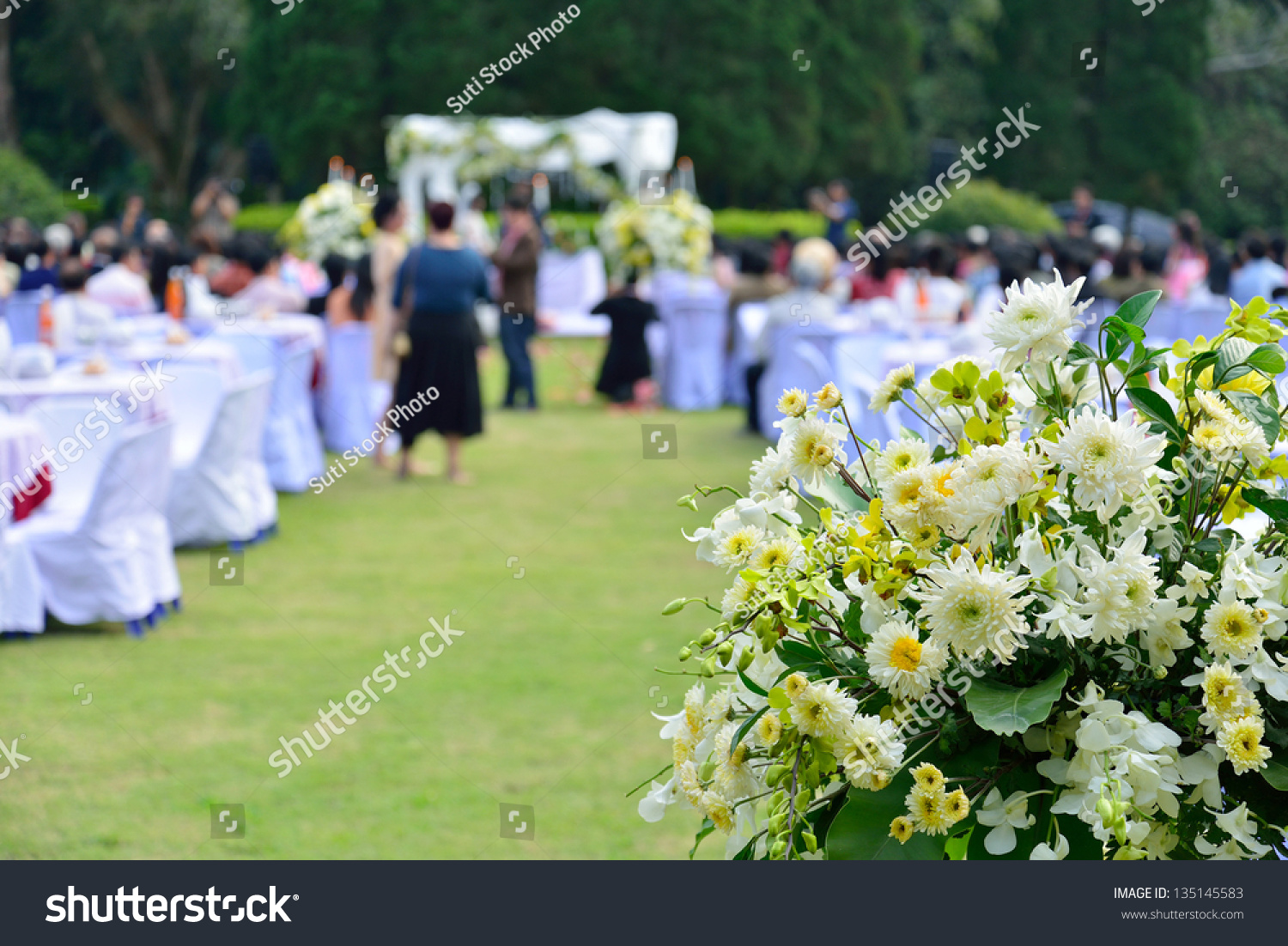 White Flowers Decorations During Outdoor Wedding Stock Photo Edit