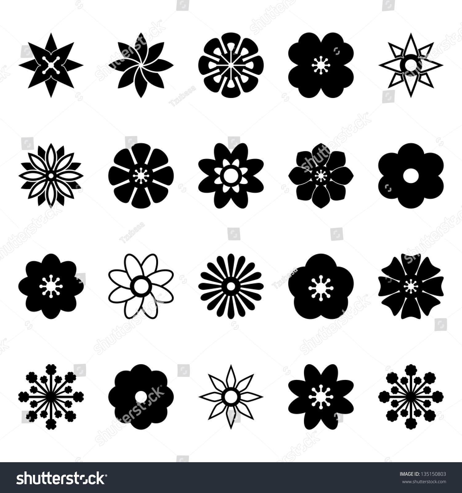 Flower Vector Black White Stock Vector 135150803 - Shutterstock