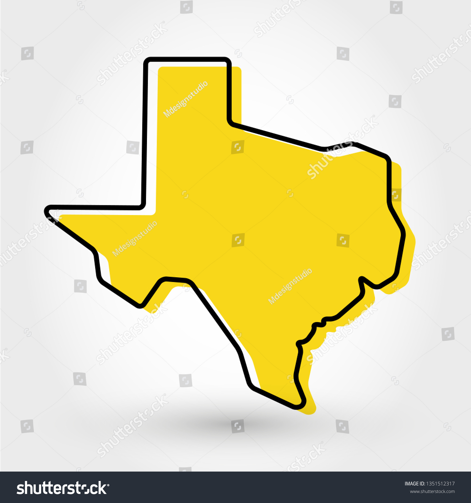 Yellow Outline Map Texas Stylized Concept Stock Vector