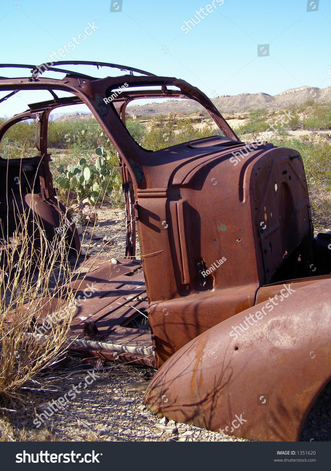 Abandoned Rusty Car Frame Close Stock Photo (Royalty Free) 1351620 ...
