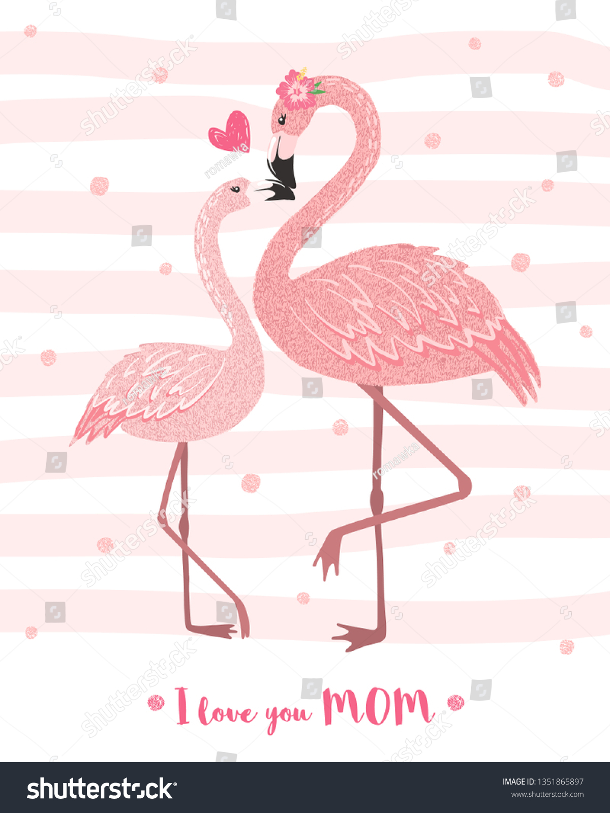 b424d365 Hand drawn pink flamingo mom with its baby. Cartoon tropical bird. Mothers  day card