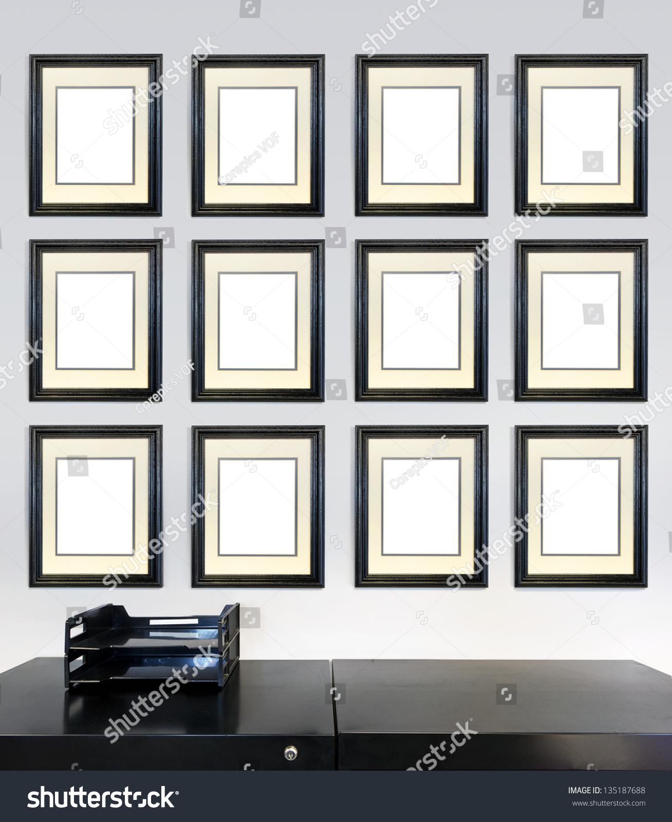 twelve framed award certificates employee month stock photo edit