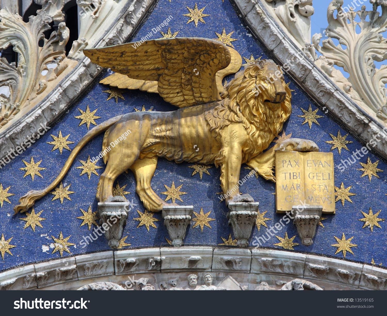 Golden Venetian Lion On San Marco Stock Photo (100% Legal Protection ...