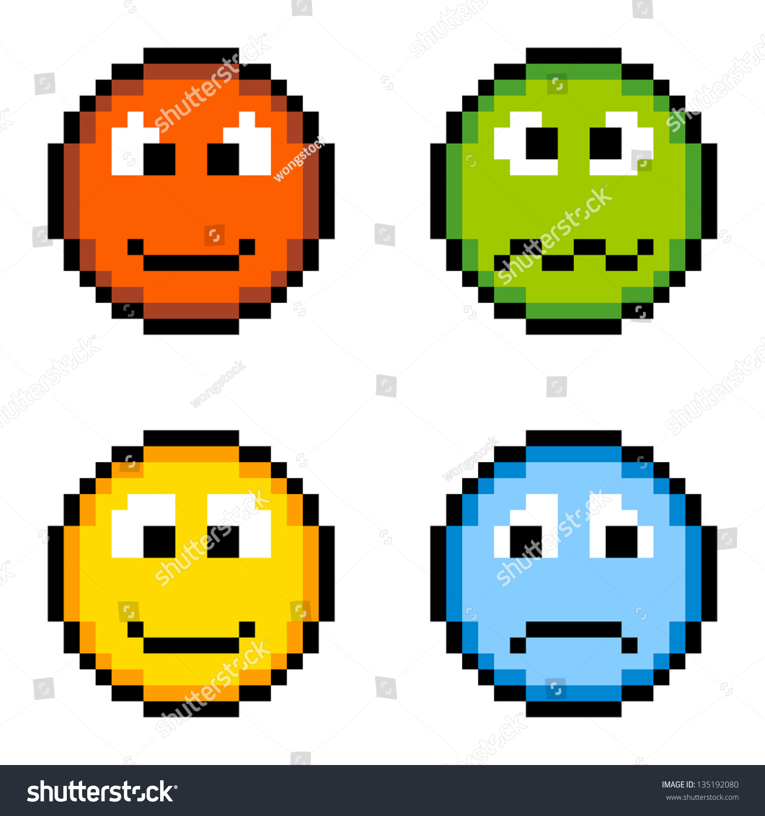 8-Bit Pixel Emoji Icons: Angry, Sick, Happy, Sad Stock