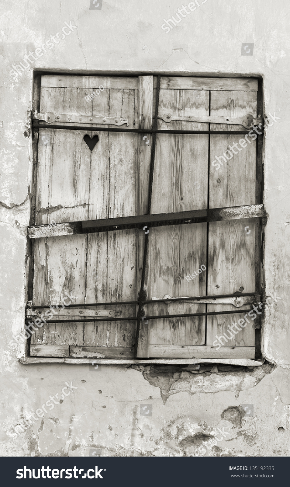 Old wood made window hatch or shutter with heart shape in it & Old Wood Made Window Hatch Shutter Stock Photo (Download Now ...