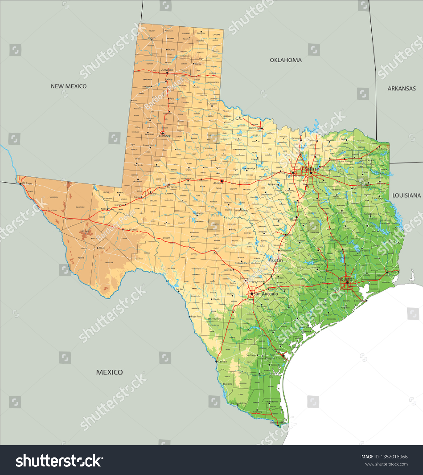 Texas Physical Map High Detailed Texas Physical Map Labeling Stock Vector (Royalty