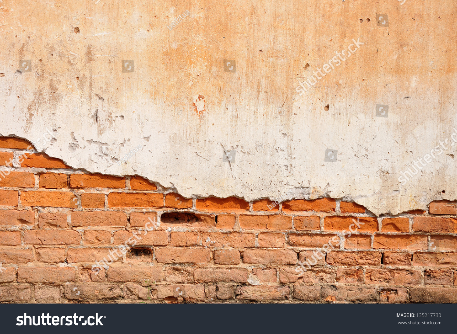 Red clay stained on the white exposed brick concrete wall for White exposed brick wall