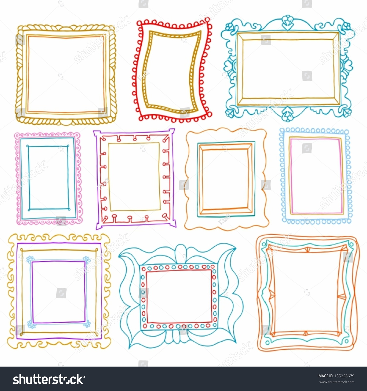Royalty-free Vintage photo frames set, drawing… #135226679 Stock ...