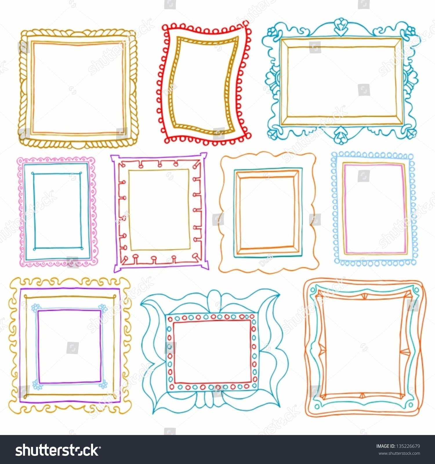 Vintage Photo Frames Set Drawing Doodle Stock Vector HD (Royalty ...