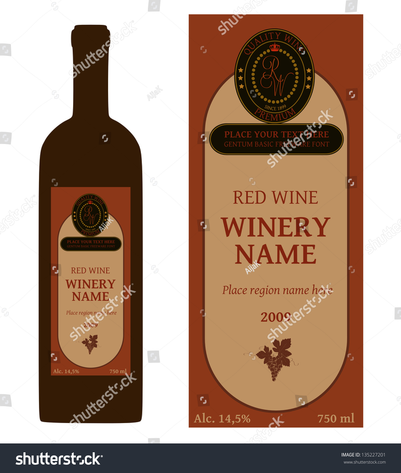 Simple Dark Wine Bottle Label Design Stock Vektorgrafik Lizenzfrei