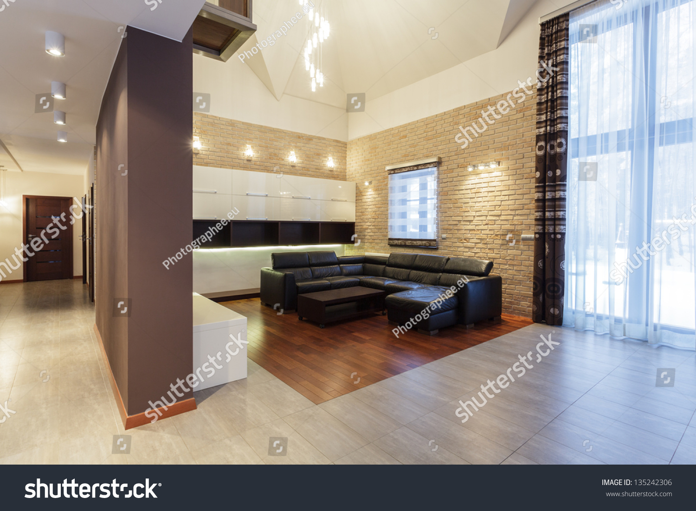 grand design living room brick wall stock photo 135242306