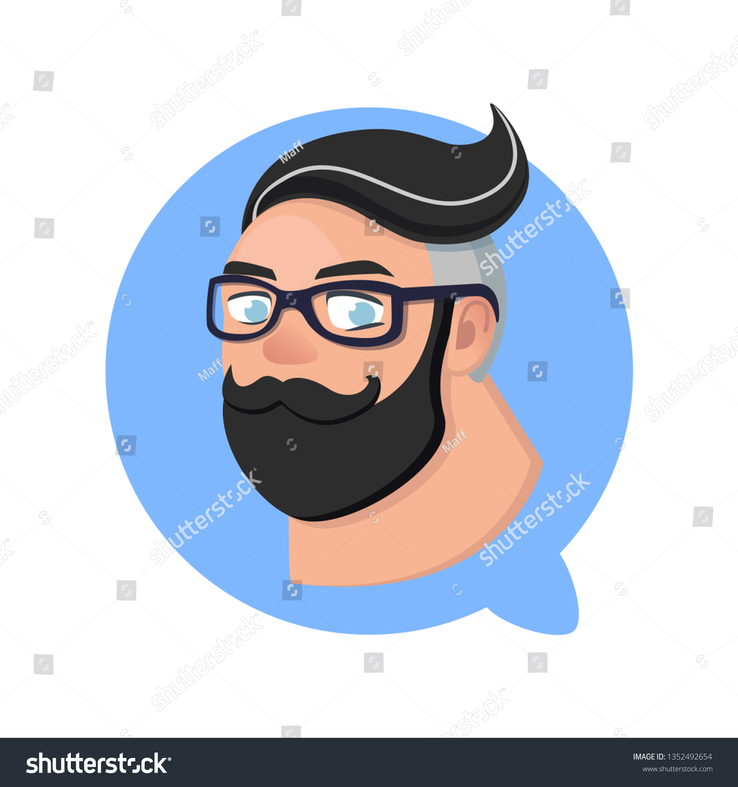 Profile Icon Hipster Man Blue Chat Stock Vector Royalty Free 1352492654
