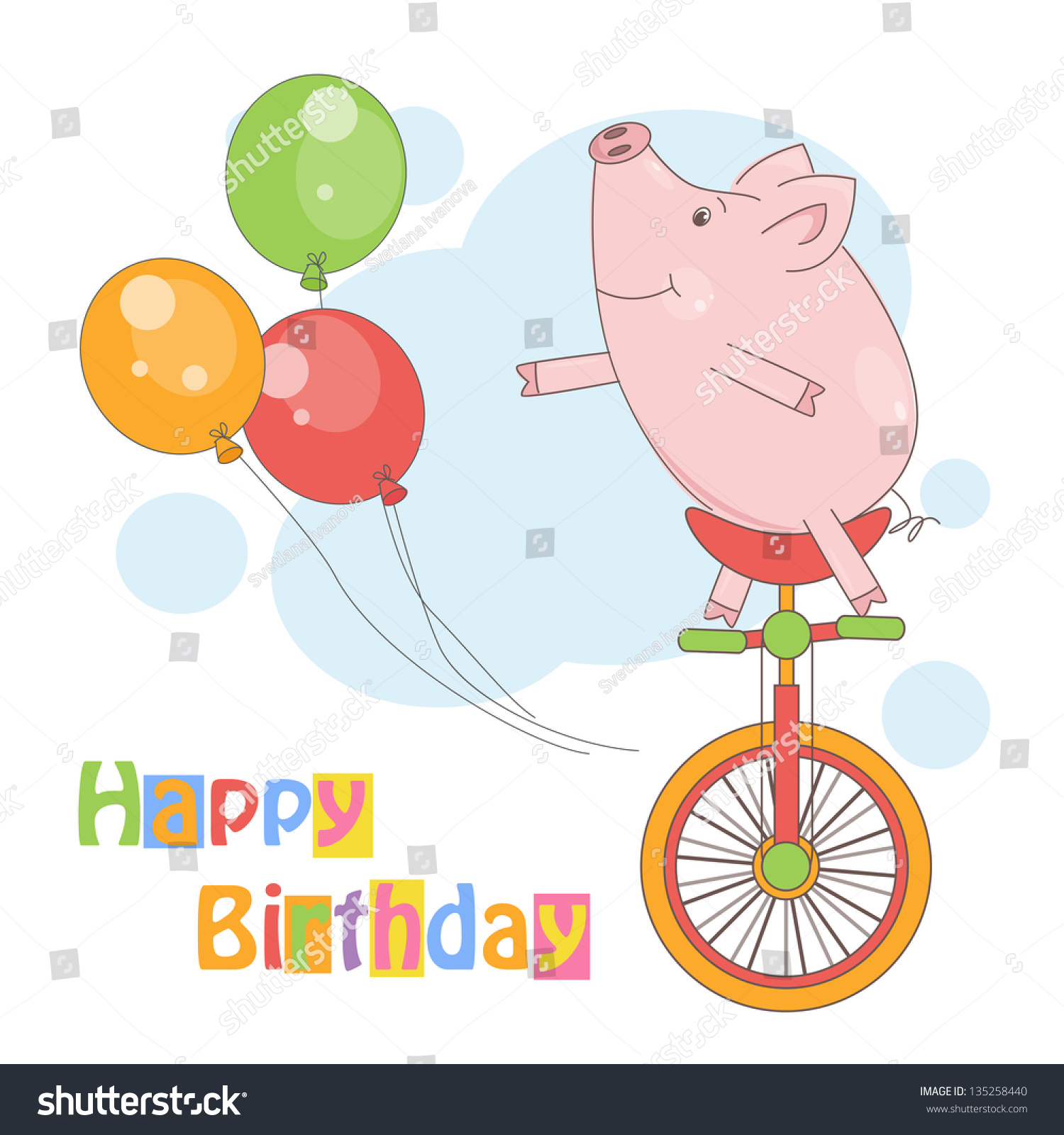 happy birthday colorful illustration cute little stock vector