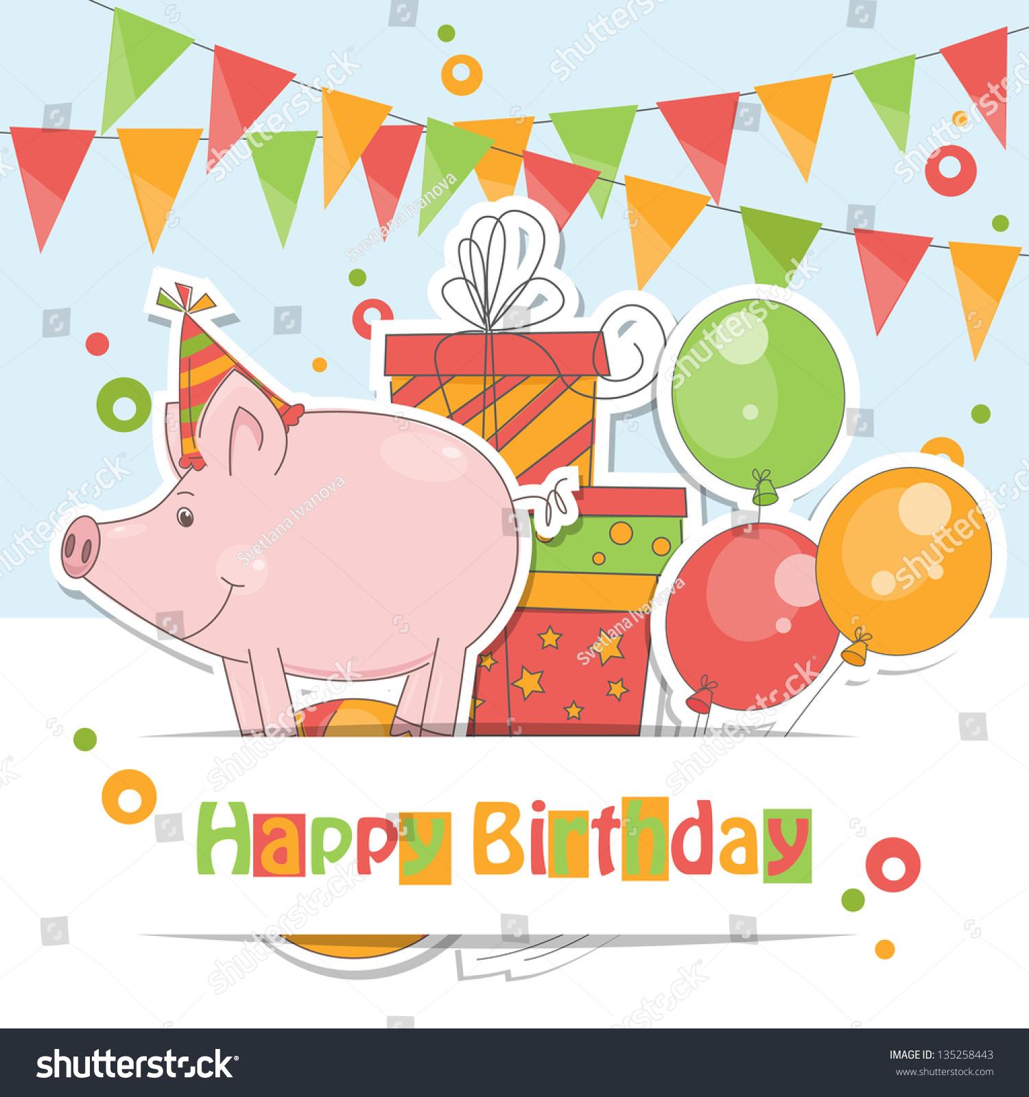 happy birthday card colorful illustration funny stock vector, Birthday card