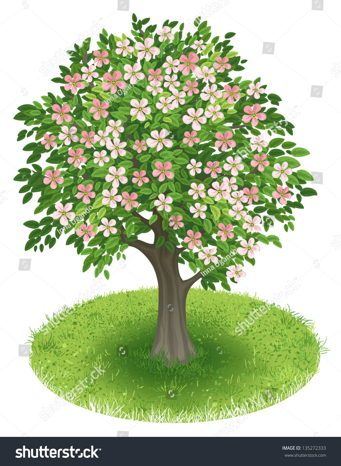 Stock Vector Spring Tree With Blossoms In Green Field Illustration