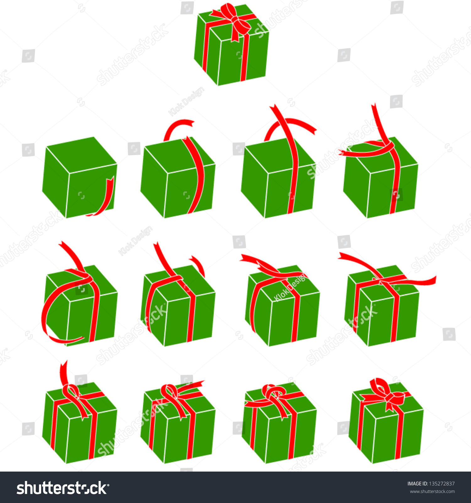 how to tie a ribbon on a box stock vector illustration 135272837 shutterstock. Black Bedroom Furniture Sets. Home Design Ideas