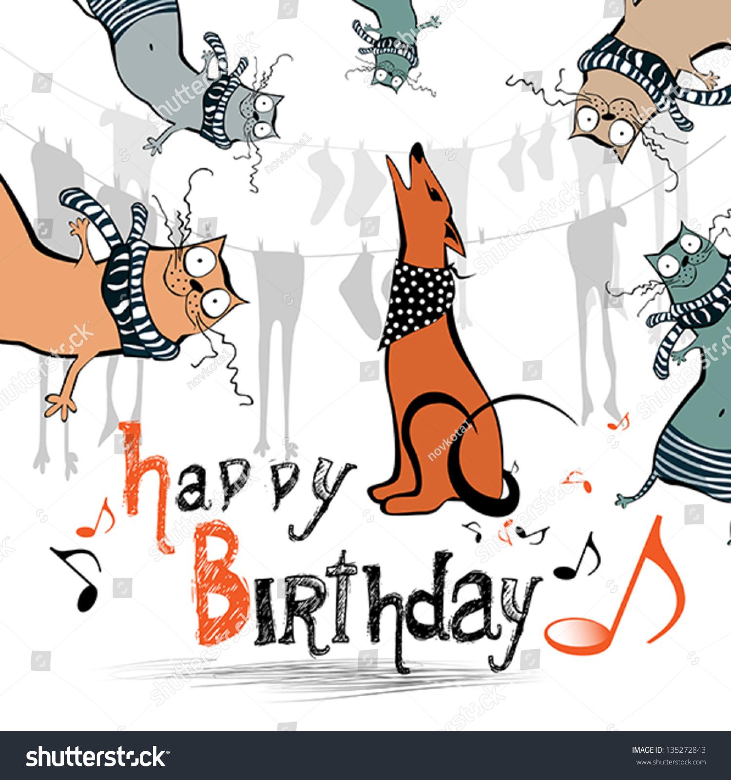 Happy Birthday Funny Kids Cat Dog Stock Vector Royalty Free 135272843