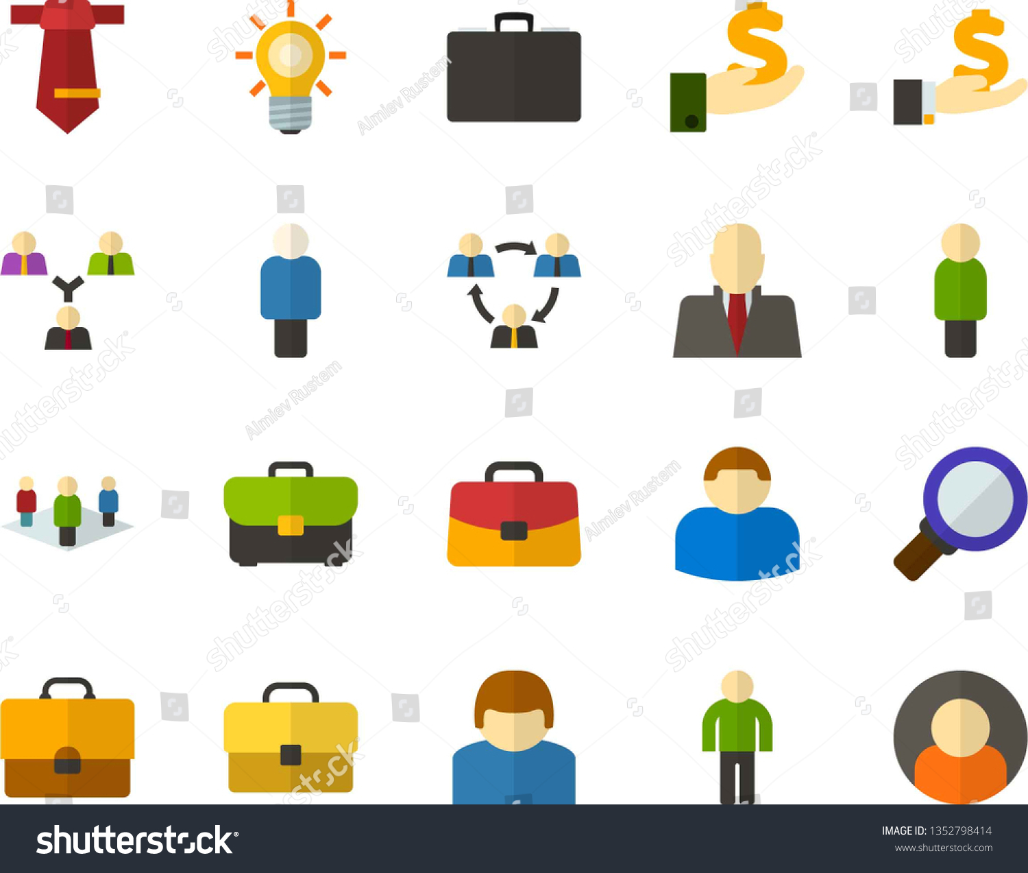 2eb440281 Color Flat Icon Set - person flat vector, schoolbag, investments,  briefcase, manager