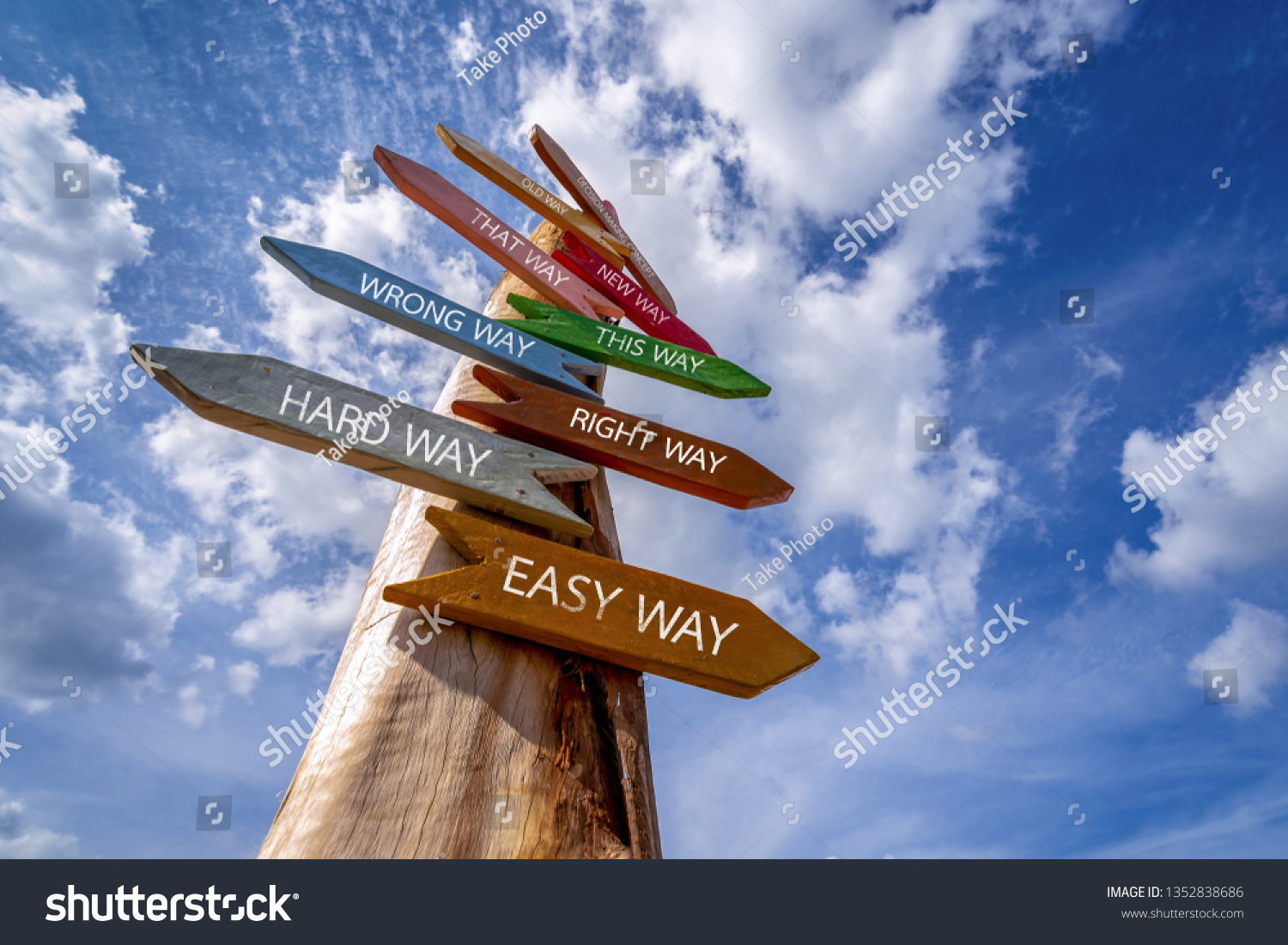Crossroad signpost saying Hard Way , Easy Way, Wrong Way , Right Way and many other ways.  Decision making concept. #1352838686