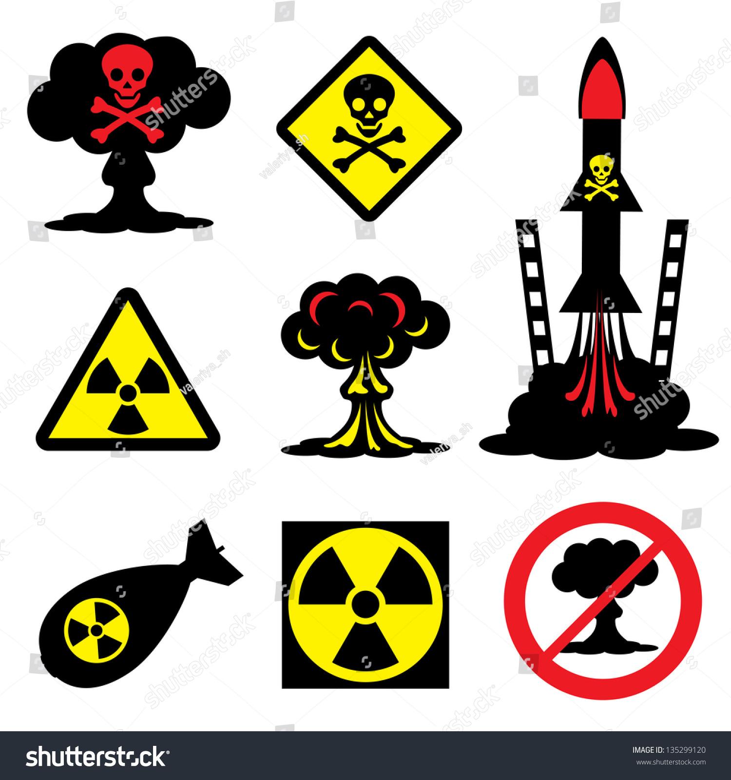 set vector icons radiation hazard nuclear stock vector