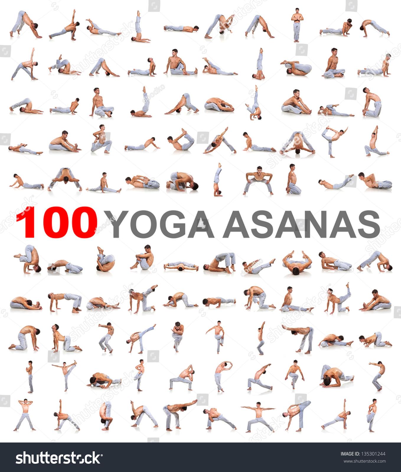 Set Yoga Poses Isolated On White Stock Photo 135301244 ...
